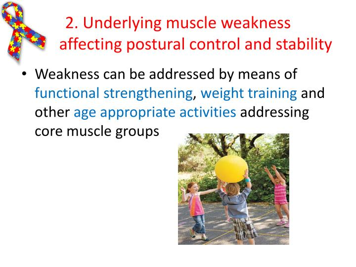 2. Underlying muscle weakness                  affecting postural control and stability