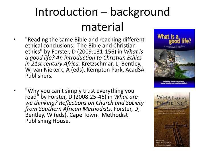 Introduction – background material