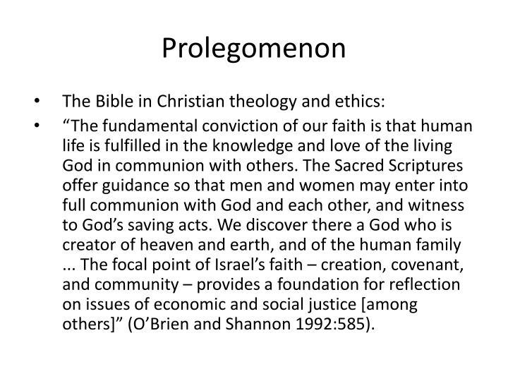 Prolegomenon