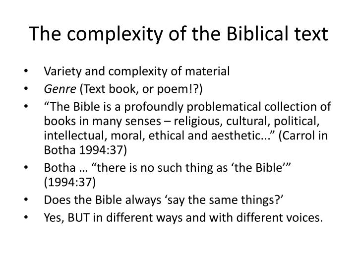 The complexity of the Biblical text