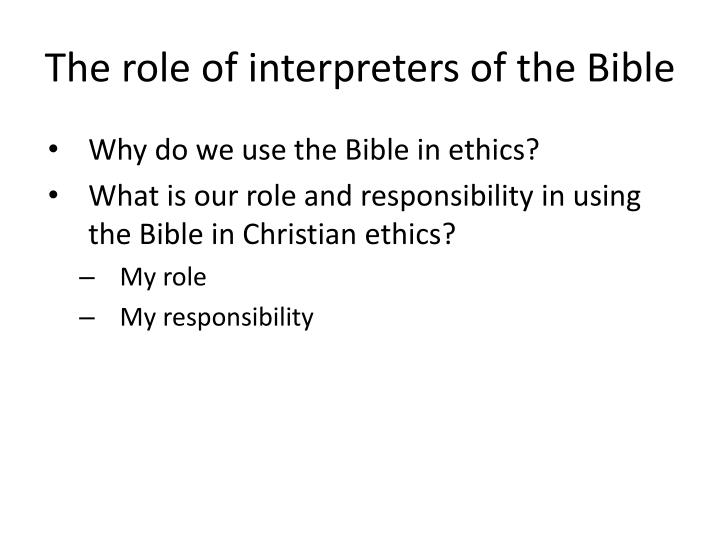 The role of interpreters of the Bible