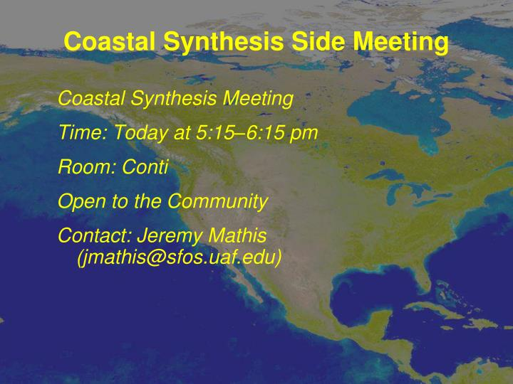 Coastal Synthesis Side Meeting