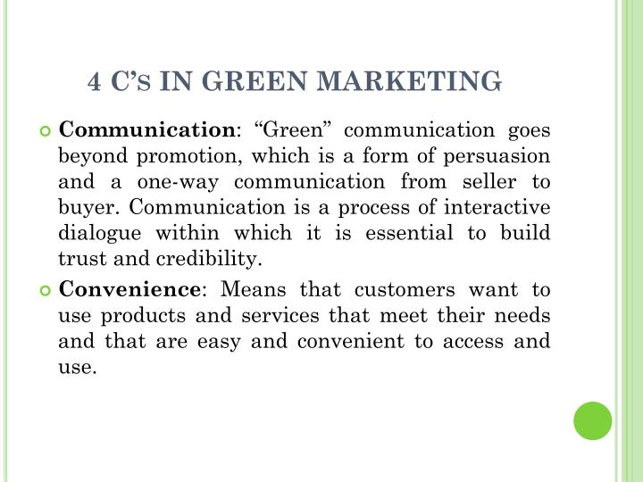 4 C's IN GREEN MARKETING