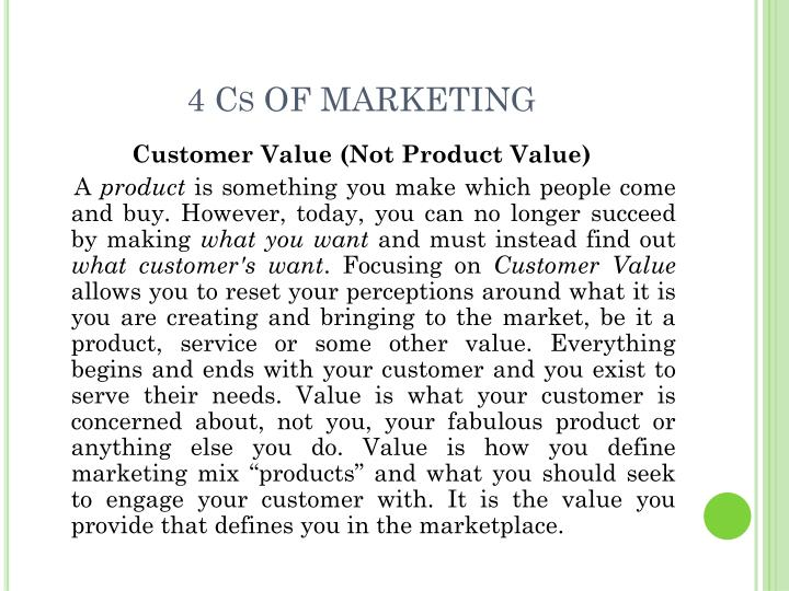 4 Cs OF MARKETING