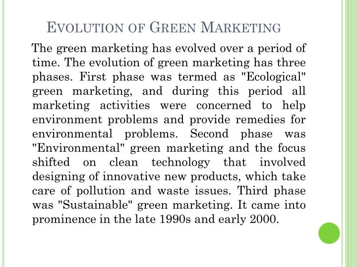 Evolution of Green Marketing