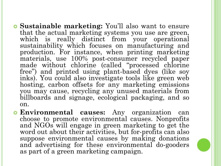 Sustainable marketing: