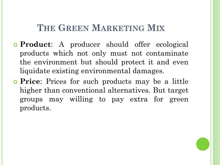 The Green Marketing Mix