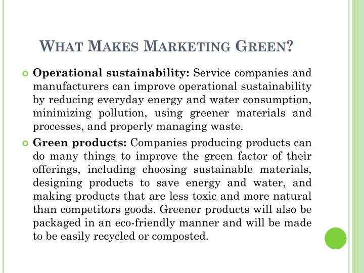 What Makes Marketing Green?