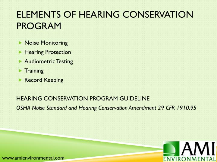 Elements of Hearing Conservation Program