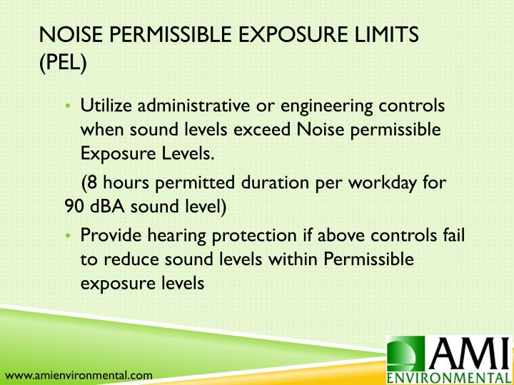Noise Permissible Exposure Limits