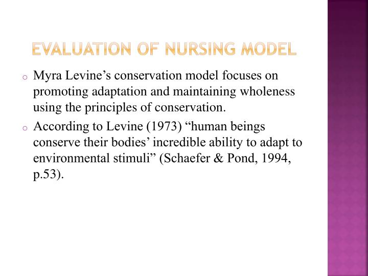 Evaluation of nursing model