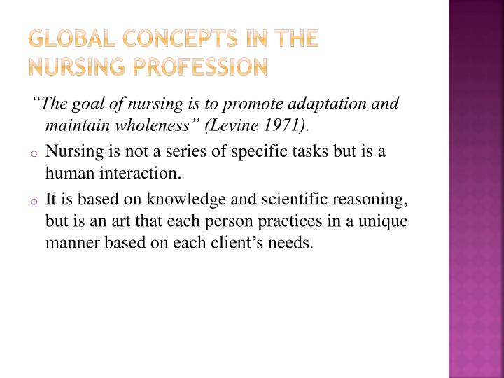 Global Concepts in the Nursing Profession