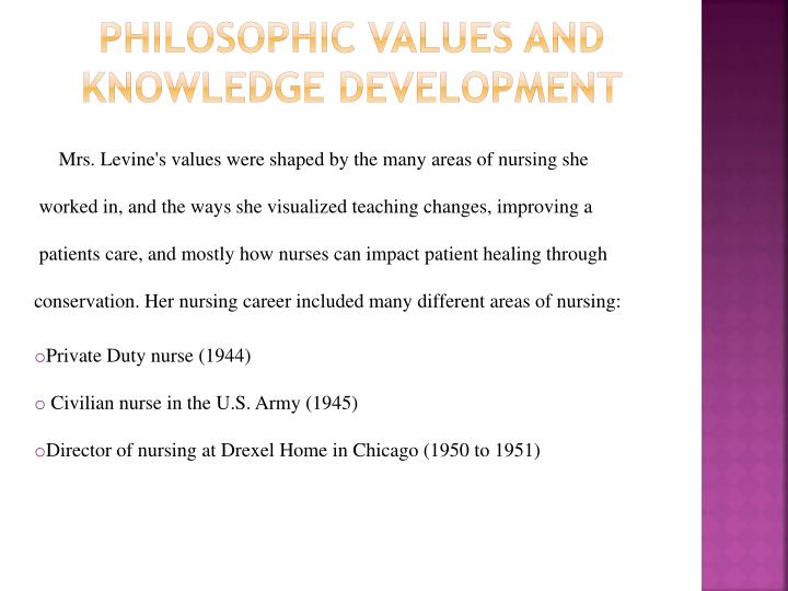 Philosophic Values and knowledge development
