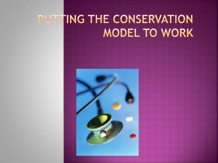 Putting the Conservation Model to Work