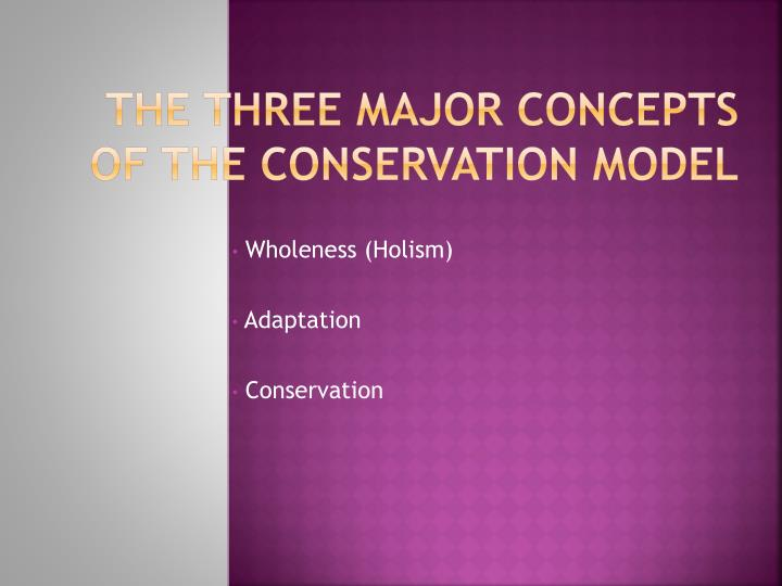 The Three Major Concepts of the Conservation Model