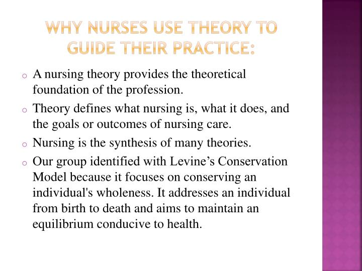 Why nurses use theory to guide their practice: