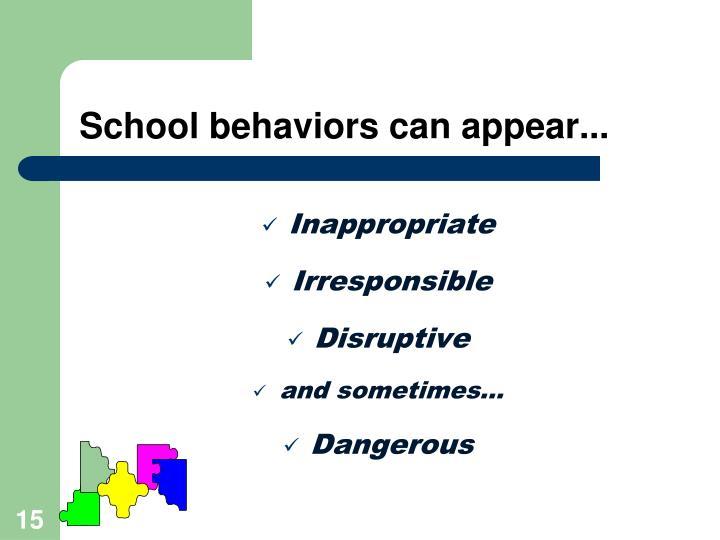 School behaviors can appear...