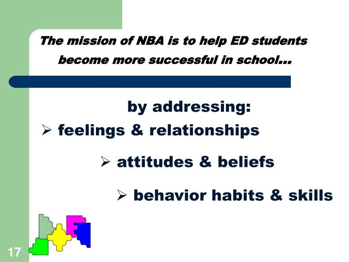 The mission of NBA is to help ED students