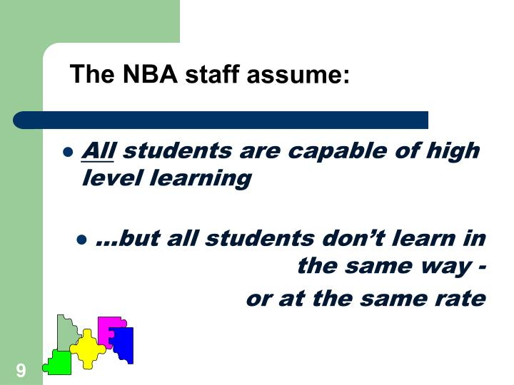 The NBA staff assume: