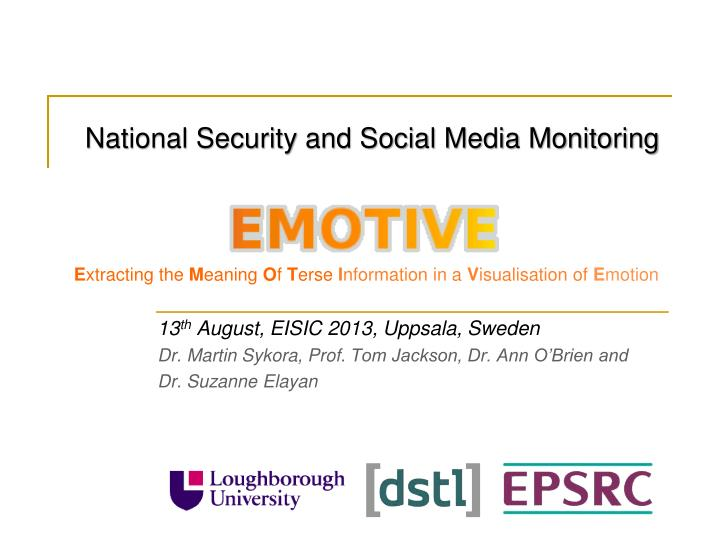National Security and Social Media Monitoring