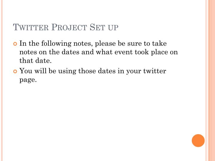 Twitter Project Set up