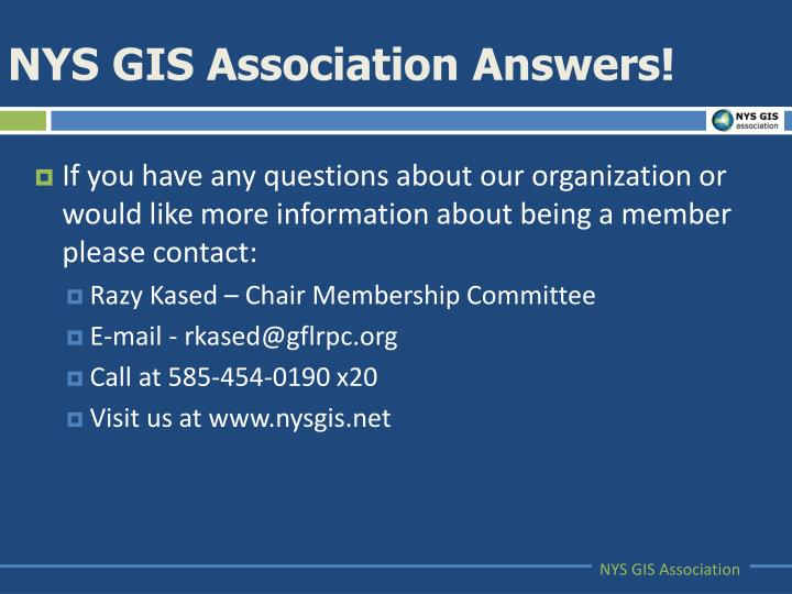 NYS GIS Association Answers!