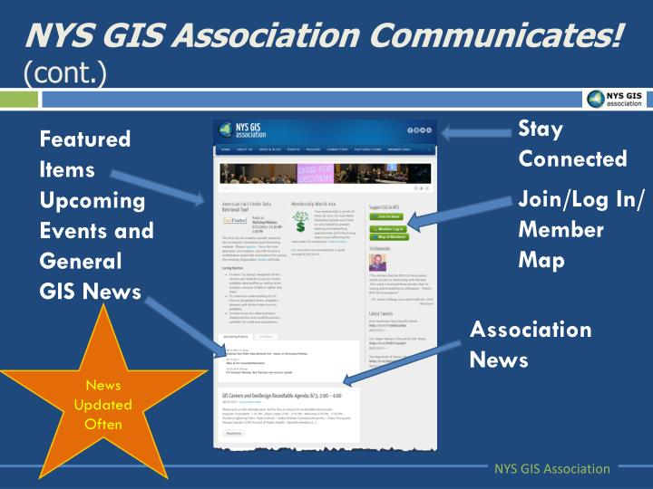 NYS GIS Association Communicates!