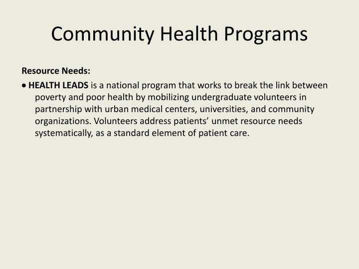Community Health Programs