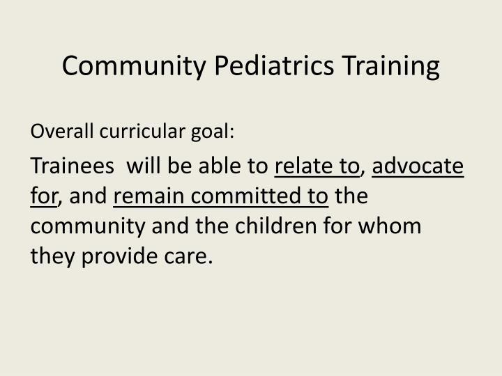 Overall curricular goal: