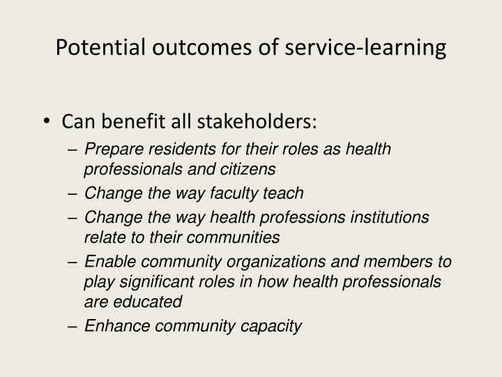 Potential outcomes of service-learning