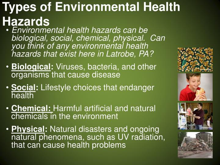 Types of environmental health hazards