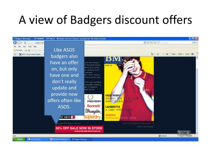 A view of Badgers discount offers