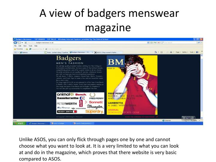 A view of badgers menswear magazine