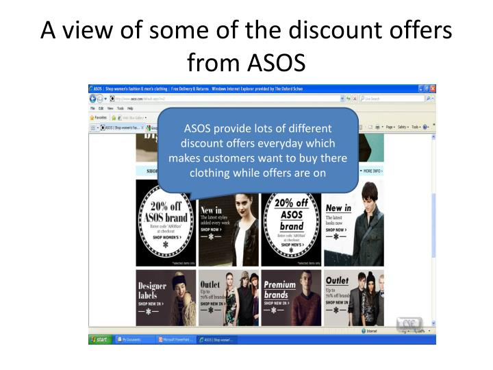 A view of some of the discount offers from ASOS