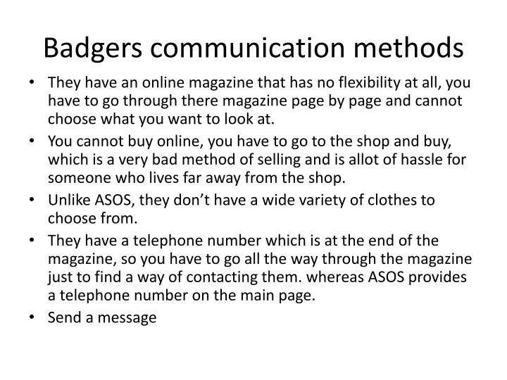 Badgers communication methods
