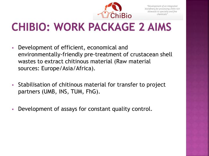 Chibio work package 2 aims