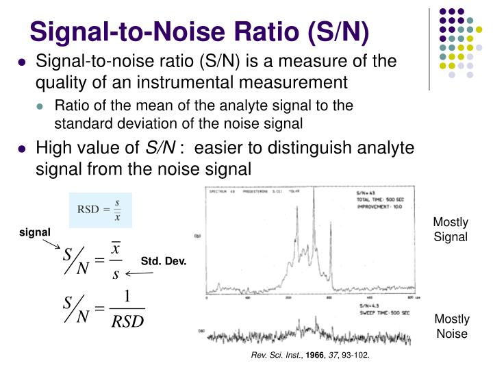 Signal-to-noise ratio (S/N) is a measure of the quality of an instrumental measurement