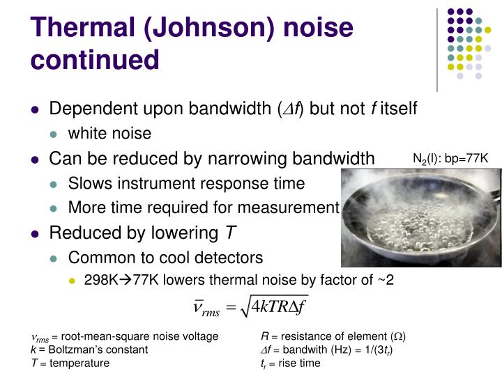 Thermal (Johnson) noise continued
