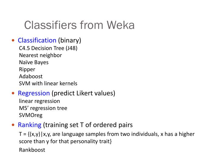 Classifiers from