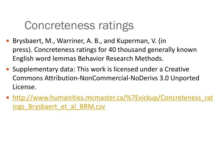 Concreteness ratings