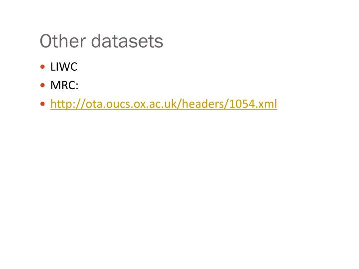 Other datasets