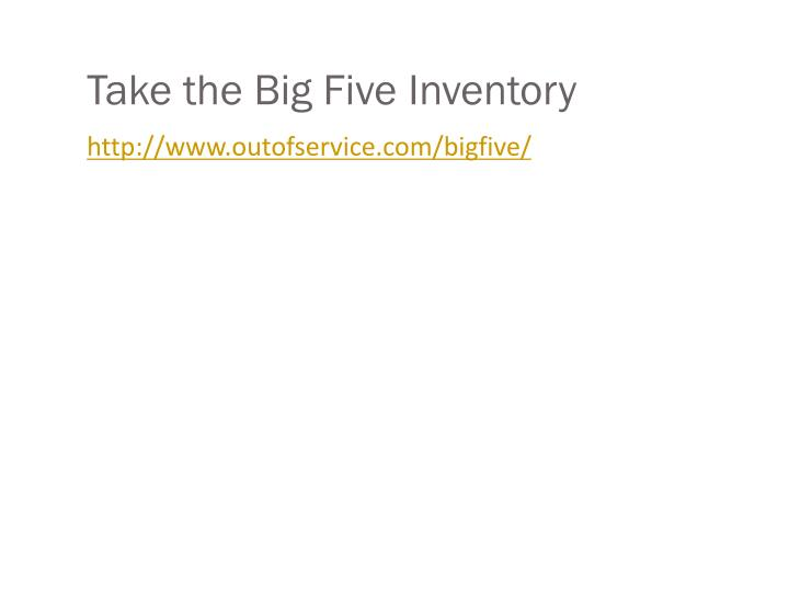Take the Big Five Inventory