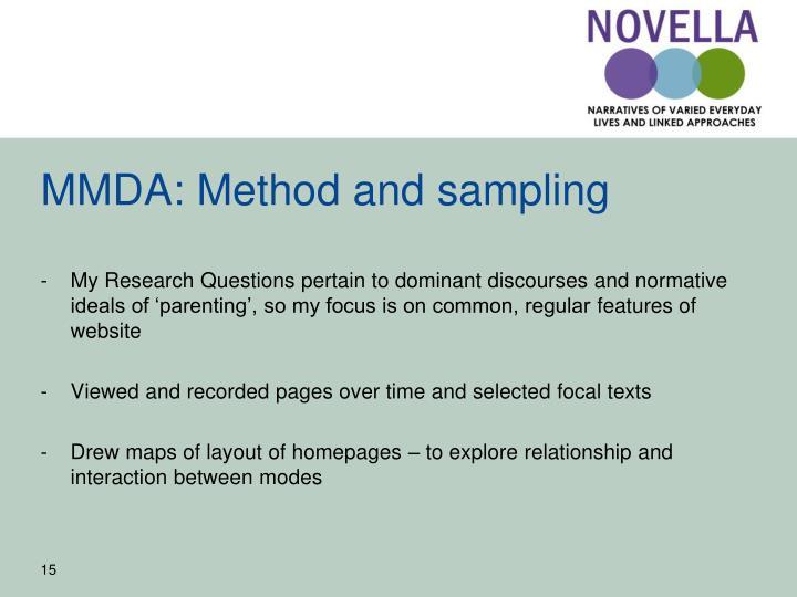 MMDA: Method and sampling