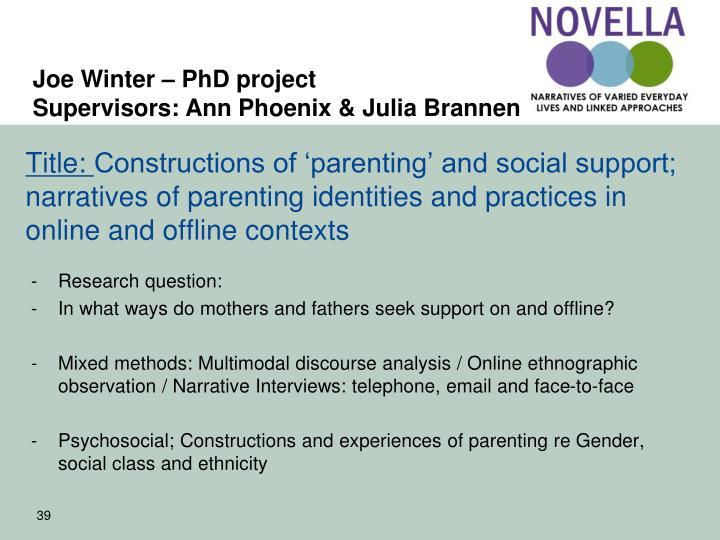 Joe Winter – PhD project