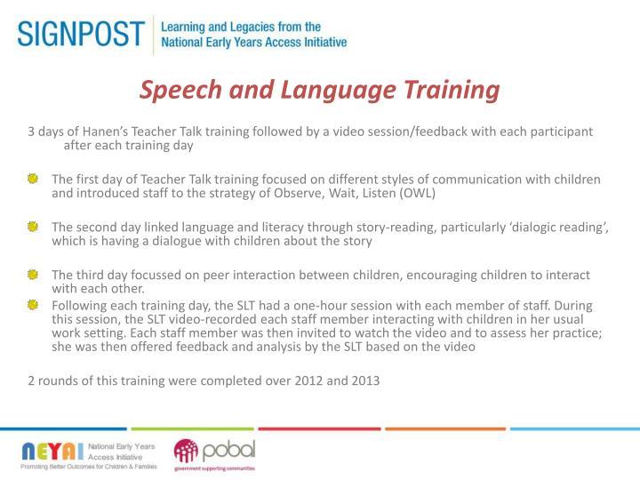 Speech and Language Training