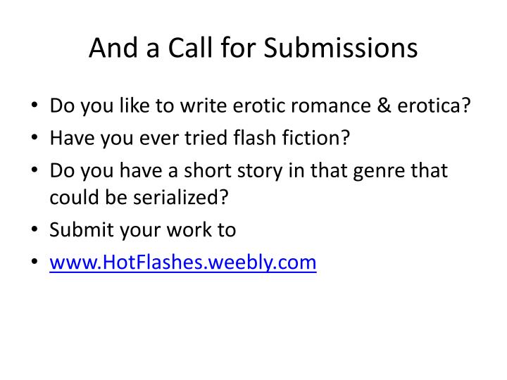 And a Call for Submissions