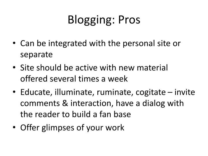Blogging: Pros