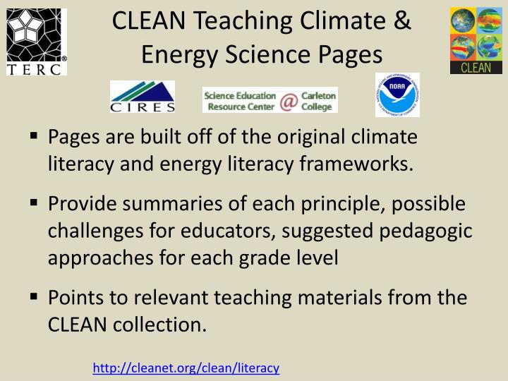 CLEAN Teaching Climate & Energy Science Pages