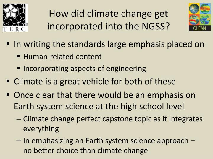 How did climate change get incorporated into the NGSS?