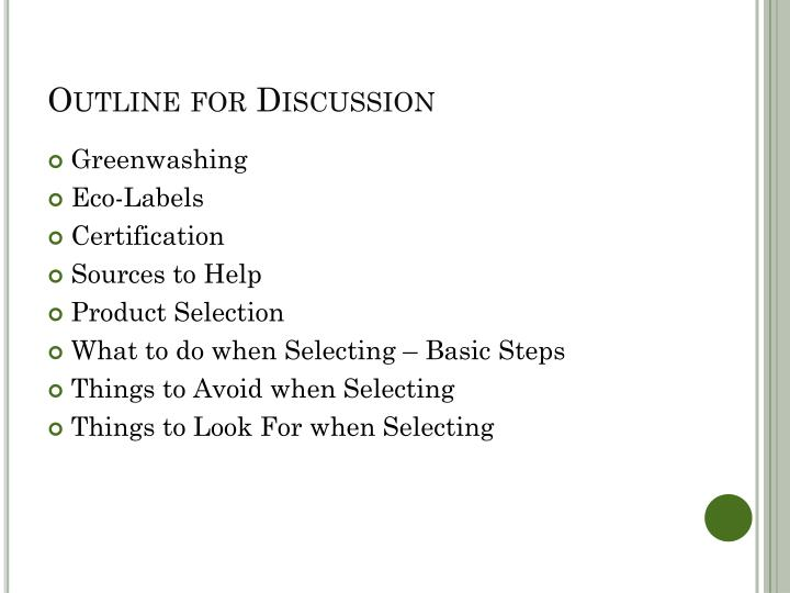 Outline for Discussion